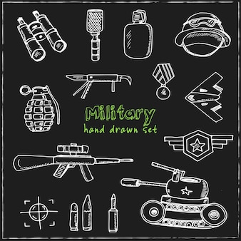 Militaire hand getrokken doodle set