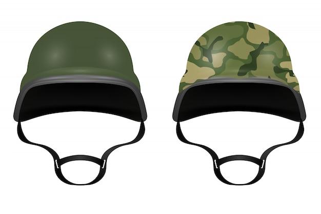 Militaire helmen die op witte achtergrond worden geïsoleerd. vector illustratie