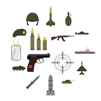 Militaire iconen set, vlakke stijl