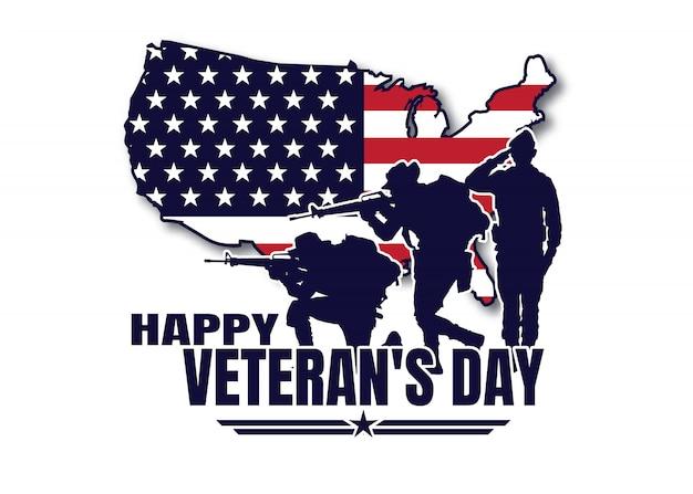 Militaire illustratie, leger achtergrond, silhouetten van soldaten, gelukkige veteranendag.