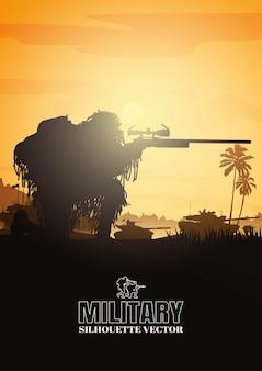 Militaire illustratie, leger achtergrond, silhouetten van soldaten.
