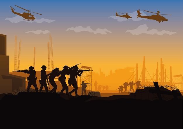 Militaire illustratie, legerachtergrond.
