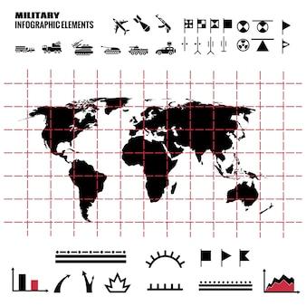 Militaire infographicselementen met wereldkaart en pictogrammen