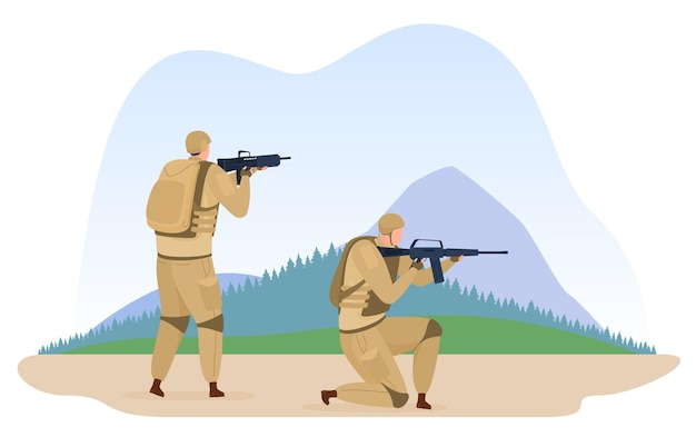 Militaire kamptraining van soldateninfanterie in camouflage-uniforme tactische basis