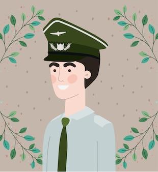 Militaire man met bladeren krans frame