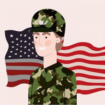 Militaire man met de vlag van de vs zwaaien