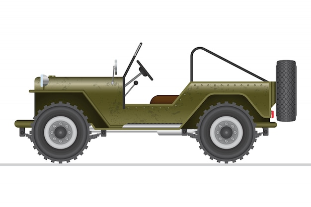 Militaire off-road autoillustratie op wit wordt geïsoleerd dat