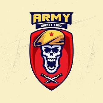 Militaire schedel badge esport logo ontwerp