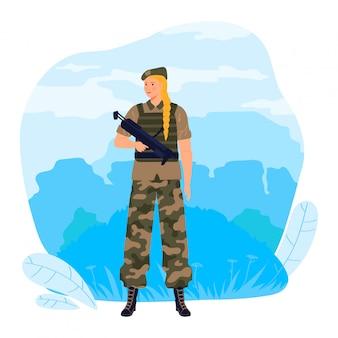 Militaire soldaat vrouw karakter houden automatisch geweer, vrouwelijke beroep professionele militair