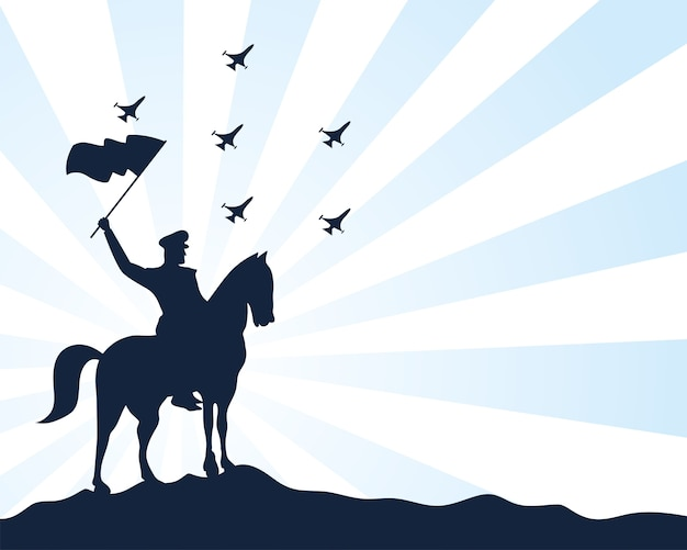 Militaire soldaat zwaaien vlag in paard silhouet geïsoleerd