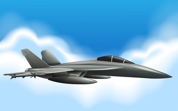Militaire straal die in hemel vliegt