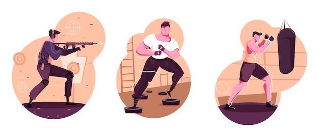 Militaire training geïsoleerde composities set van volwassen sportieve mannen boksen schieten bestrijden