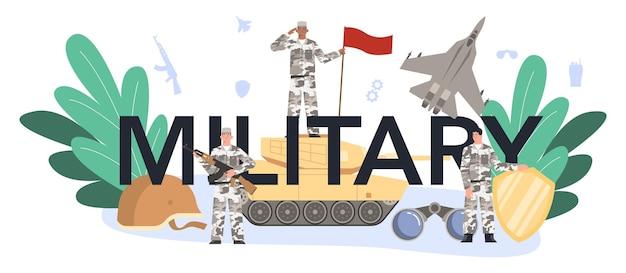 Militaire typografische koptekst