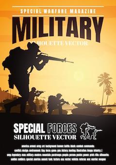 Militaire vectorillustratie, leger achtergrond, boekomslag ontwerp.