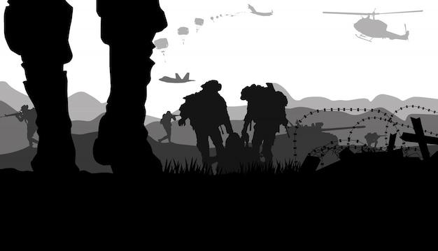 Militaire vectorillustratie, leger achtergrond.