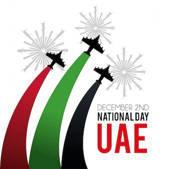Militaire vliegtuigen met firewords aan nationale dag