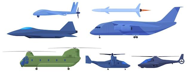 Militaire vliegtuigen, verkenningsdrones, raketten, jager, helikopter.
