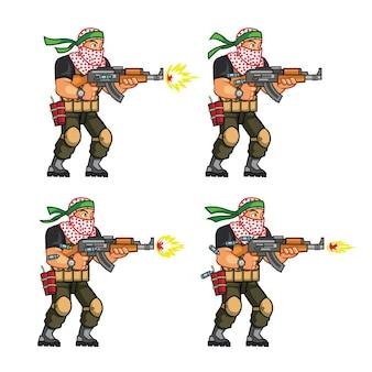 Militie cartoon game karakter sprite