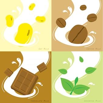 Milk smaak soja koffie chocolade groene thee vector