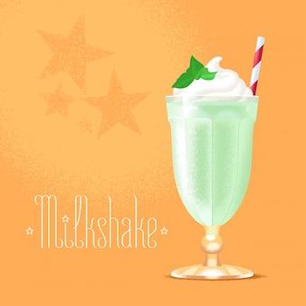 Milkshake illustratie, ontwerpelement. geïsoleerde cartoon glas en stro met groene milkshake en ijs