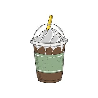 Milkshake in vintage hand getrokken stijl. klaar voor gebruik in elke behoefte.