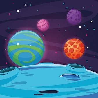 Milkyway ruimte landschap cartoon