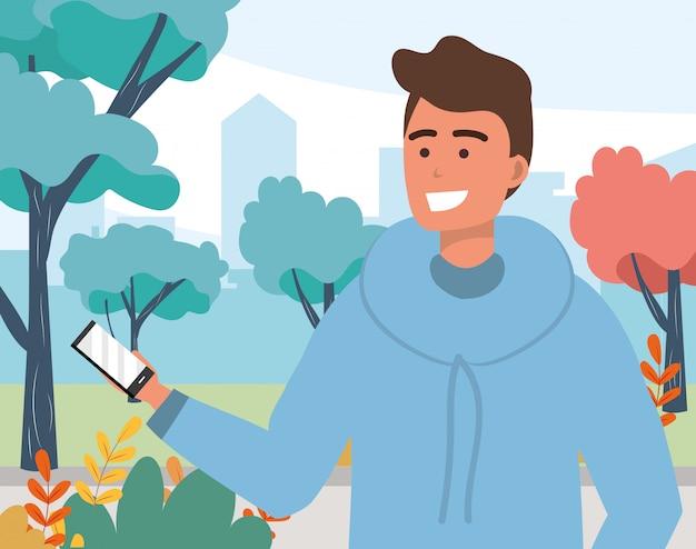 Millennial jongeman smartphone texting portret