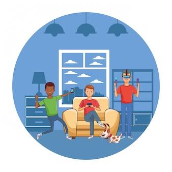 Millennial mensen gaming party in huis ronde pictogram