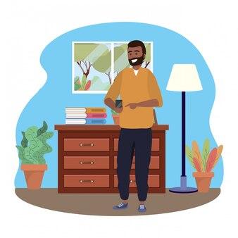 Millennial met behulp van smartphone binnenshuis sms'en