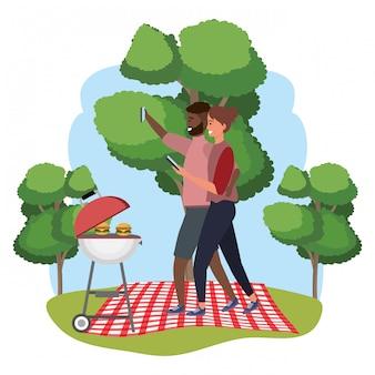 Millennial paar datum picknick frame