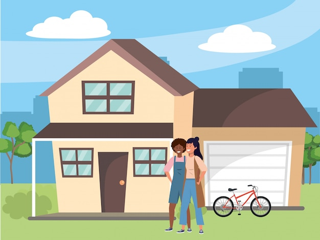 Millennial paar huis veranda