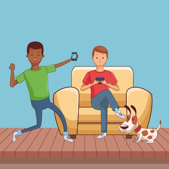 Millennial people gaming party