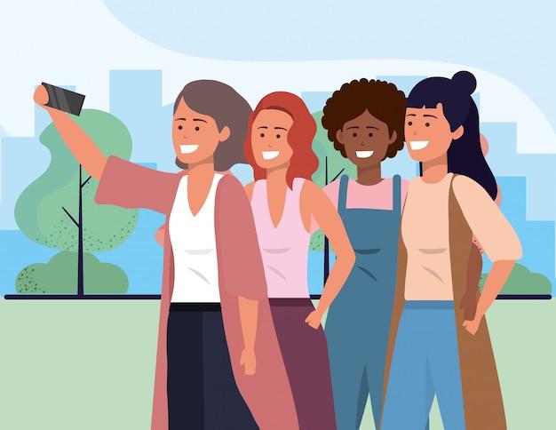 Millennium diverse groep die selfie stadsgezicht nemen