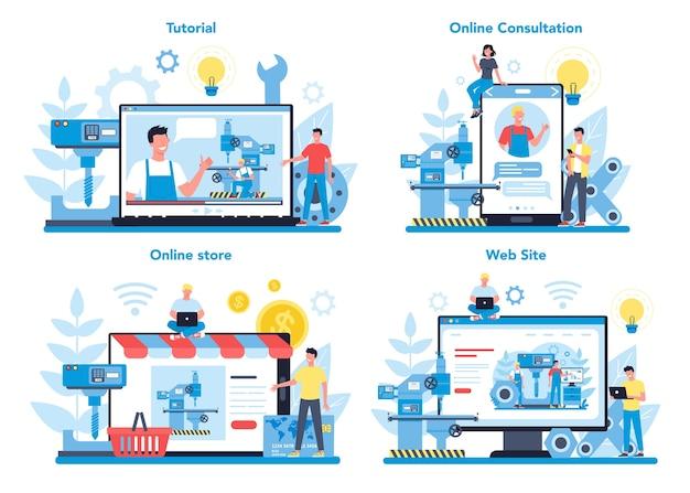 Miller en frees online service of platform op verschillende apparaatconceptenset. ingenieur boren metaal met freesmachine, detailproductie. industriële technologie.