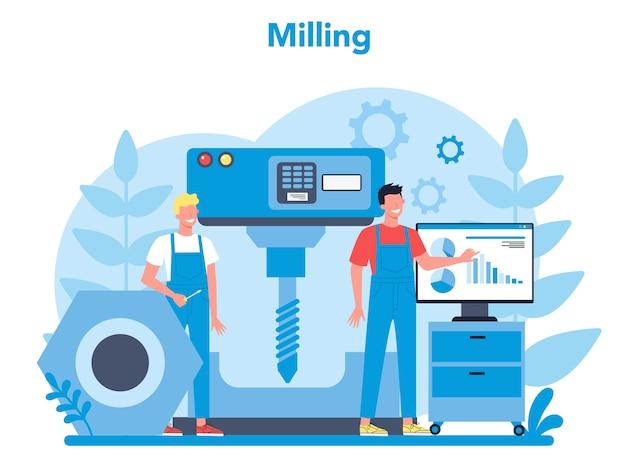 Miller en frezen concept illustratie. ingenieur boren van metaal met freesmachine, detailproductie. industriële technologie. geïsoleerde platte vectorillustratie