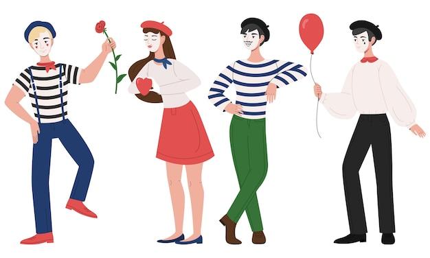 Mimespelers man en vrouw pantomime illustratie