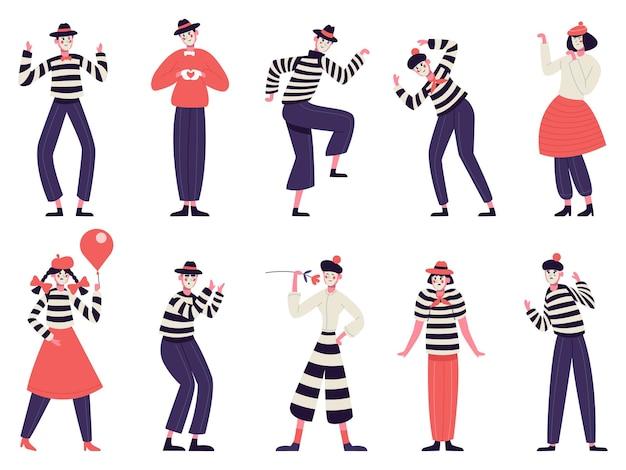 Mimespelers. stille acteurs pantomime en komedie uitvoeren van grappige mimische poses mannelijke en vrouwelijke mimespelers tekens illustratie set