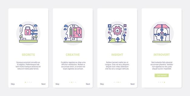 Mind creatieve proceslijnpsychologie ux ui onboarding mobiele app-paginaschermset