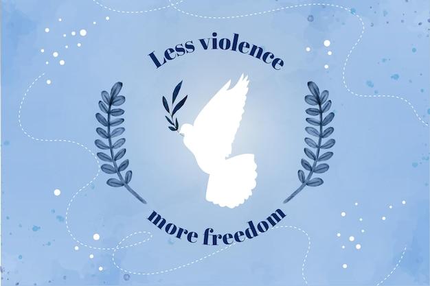 Minder geweld meer vrijheid bericht achtergrond Gratis Vector
