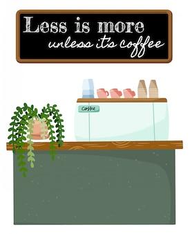 Minder is meer als het typografie van koffiecitaten is. winkel promotie motivatie. kleine bedrijven koffie cafe winkel.