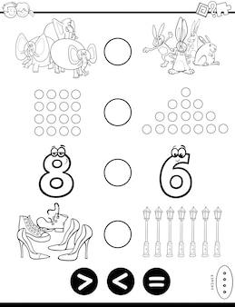 Minder of gelijk puzzel kleurboek