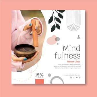 Mindfulness vierkante flyer-sjabloon