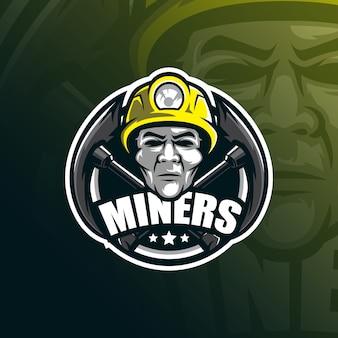 Miner mascotte-logo met moderne illustratiestijl voor afdrukken van insignes, embleem en t-shirts.