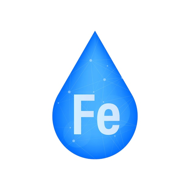 Mineraal fe ferum blauw glanzend pil capsule icoon. vector voorraad illustratie.
