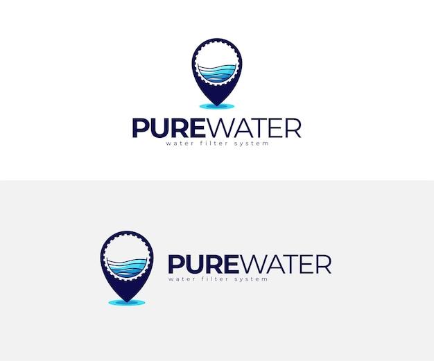 Mineraal zuiver water en pin logo ontwerpsjabloon