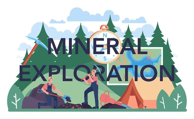 Minerale exploratie typografische kop. mijnbouw en winning van natuurlijke hulpbronnen. werknemer in uniform en helm met houweel, jackhammer en kruiwagen die in steengroeve werken. platte vectorillustratie