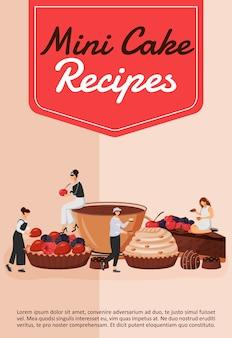 Mini cake recepten poster platte sjabloon. chef-kok die gebak kookt. cupcake en taart. fruit dessert. brochure, boekje conceptontwerp van één pagina met stripfiguren. patisserie flyer, folder