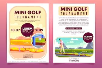 Mini golftoernooien cartoon promo brochure, sjabloon voor uitnodiging flyer.