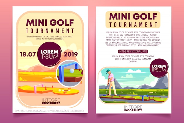 Mini golftoernooien cartoon promo brochure, sjabloon voor uitnodiging flyer.