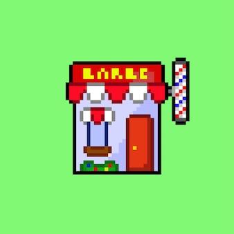 Mini kapperszaak gebouw met pixel art-stijl